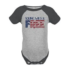 Custom Party Shop Kids Young Wild Free 4th of July Grey Onepiece