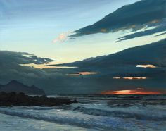 Link to Sunset - Dinas Dinlle, Open Edition Print (Giclee), from an original by Rob Piercy