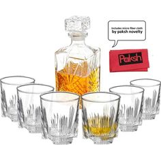 Paksh Novelty Italian Crafted Glass Decanter & Whisky Glasses Set, Elegant Whiskey Decanter with Ornate Stopper and 6 Exquisite Cocktail Glasses Oldest Whiskey, Good Whiskey, Whiskey Decanter, Whiskey Glasses, Glass Bar, Cut Glass, Whiskey Gifts, Whisky, Liquor