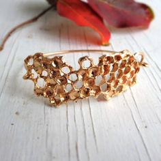 Honeycomb Bracelet Beehive Bronze and Sterling Silver Chase and Scout C&S