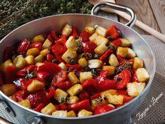peperoni in padella con pane croccante
