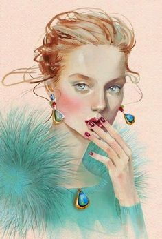 Kai Fine Art is an art website, shows painting and illustration works all over the world. Art And Illustration, Portrait Illustration, Fashion Sketchbook, Fashion Sketches, Fashion Illustrations, Poster Online, Face Art, Fashion Art, Woman Fashion