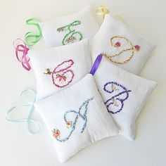 Artículos similares a Personalized lavender sachet, one made to order silk sachet, scented silk pillow, silk ribbon embroidery, hand embroidered initial en Etsy Silk Ribbon Embroidery, Hand Embroidery, Embroidery Designs, Lavender Sachets, Lavender Buds, Ribbon Art, Silk Pillow, Monogram Initials, Embroidered Flowers