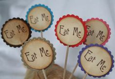 EAT ME-Vintage Style Cake Topper-Tags-Picks-Wedding-Party-Set of 6-Colour Choice