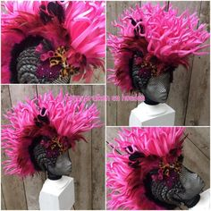 Custom mohawk with feathers, bow, tubes and other decoration. Also possible in other colour combinations and themes. You can send me a message for more information.