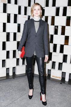 Evan Rachel Wood in a Bottega Veneta suit and Christian Louboutin heels.