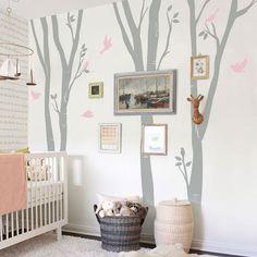 Birch Tree Decal, Wall Decals, birds - Nursery Kids Removable Wall Decal, Romm Deocr Sticker