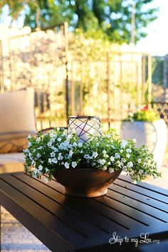 How to make an easy floral outdoor centerpiece luminary #make #luminary #centerpiece skiptomylou.org