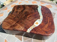Cutting/serving board 3-    Dark Figured California Black Walnut  with seashell, mixed turquoise, chrysocolla, apatite, and mica by Inlaidwoods on Etsy