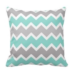 Aqua Blue and Gray Grey Chevron Throw Pillow #decampstudios I need to find this it matches our bed set