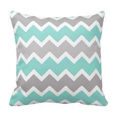 Aqua Blue and Gray Grey Chevron Throw Pillow #decampstudios