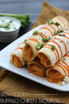 Crockpot Buffalo Chicken Taquitos