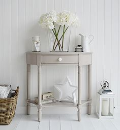 The Oxford grey half moon console table with drawer and shelf, perfect for a hom. The Oxford grey half moon console table with drawer and shelf, perfect for a home where there is li Hall And Living Room, Cottage Living Rooms, Living Room Grey, Living Room Furniture, Home Furniture, Country Furniture, Furniture Ideas, Cream Furniture, Furniture Design