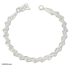 Silver link bracelet, 'Zigzag Lace' NOVICA. $59.99. Handmade by Juan Contreras.. A fair trade product. Normally ships directly from Peru within 10 days.. Save 43%!