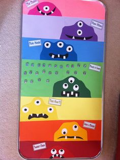 """@Sherry Majors -  *Teaching Maddeness* - Monster-Themed Magnetic """"Clip Chart"""" for Behavior  I dont know how appropriate this is with the monster thing- kids are monsters?? BUT I like the idea of the magnets"""