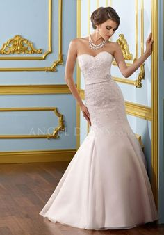 Organza Mermaid Sweetheart Sleeveless Floor Length Natural Waist Bridal Gown