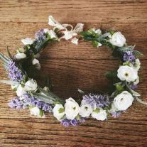 Wedding Hair With Flowers jewels : Pretty Flower Crown White and Purple-The Rebekah Crown