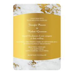 Wedding Marble Minimalism Golden Confetti 13 Cm X 18 Cm Invitation Card