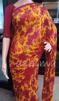 Code:1511160 - Printed chiffon Saree With Hand Work, Price INR:7290/-