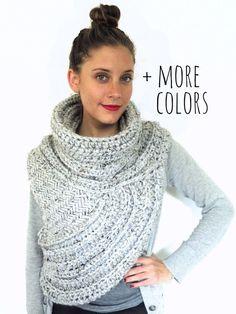 PATTERN for Chunky Knit Crochet Asymmetric Cowl Vest Shawl Scarf ...