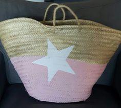 Rieten tas roze met witte ster
