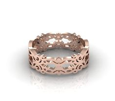 Vintage Lace Band Wedding Band 14k Rose Gold Band Filigree Ring Delicate Band
