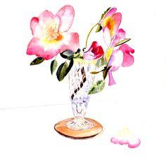 Handmade Rose Watercolour Cards a set of four