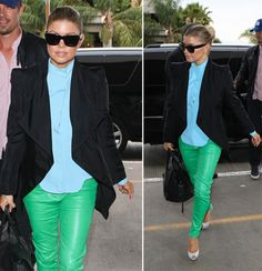 Love these green leather skinnies!