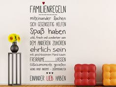 Entdecken Sie bei uns das mehrfarbige Wandtattoo Familienregeln mit Herz und gestalten Sie damit Ihre Wände lebendig, erfrischend und voller familiärer Liebe.