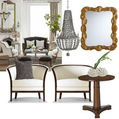 Who doesn't want French lessons?  #Style #decor #design #furniture (Chandelier, pillow, and table accessory by Arteriors Home and mirror by Laura Kirar for Arteriors Home.)