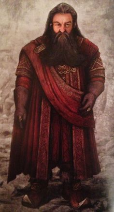 "Concept art of young Balin in Erebor robes from ""The Hobbit: An Unexpected Journey"" (2012).  Deep red was Balin's signature shade for all of his costumes throughout the trilogy and the cut and fabrics chosen for his wardrobe were intended to reflect his status as an aristocratic dwarf with a talent for counsel and statesmanship."