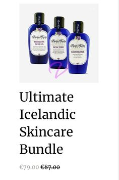 An Icelandic Skincare Bundle. Detoxifies & Cleansing your skin! Safe for all sensitive skin types. Extracts pollutants and nasties from your skin. Assists in the removal of acne, pimples, impurities and wrinkles. Cleansing Milk, Minimize Pores, Eye Gel, Facial Serum, Dead Skin, Skincare Routine, Pimples