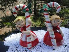 VINTAGE SET OF (2) NAPCO ANGEL GIRL FIGURES FIGURINES CANDY CANE CHRISTMAS BELLS