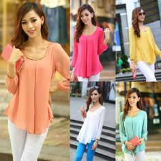 New Fashion Women's Loose Chiffon Tops Long Sleeve Shirt Casual Blouse #Unbranded #Blouse #Casual