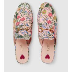 Gucci Princetown New Flora Slipper ($695) ❤ liked on Polyvore featuring shoes and slippers