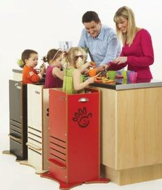 The only toddler kitchen step stool that is fully enclosed     MDF selected for high durability/exterior material commercial grade laminate     It has a hole in the bottom messes to drop through     it can be wiped clean with a cloth and warm soapy water.     There are 5 settings accommodating height     1 child at a time.     Recommended age: 12 month up to age 6         Fits safely at counter height and is better for smaller areas.     Comes in 3 colors.