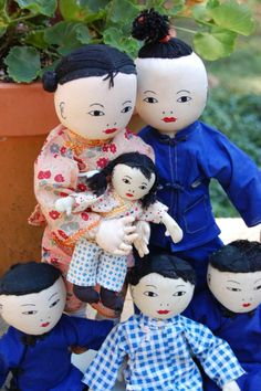 Family of 6 Chinese Mission cloth dolls Hong Kong