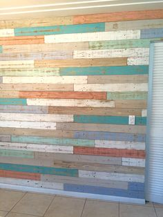 Another look at recycled wood in dining room. Pallet Accent Wall, Pallet Walls, Accent Walls, Look Wallpaper, Wooden Wallpaper, Felt Ball Rug, Painted Wood Walls, Homemade Furniture, Beach House Kitchens