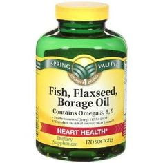 Spring Valley Fish/ flaxseed/ Borage Oil Contains Omega Dietary Supplement 120 ct Borage Oil, Spring Valley, Essential Fatty Acids, Essential Oils, Food Science, Alternative Health, How To Lose Weight Fast, Health And Wellness, Health Tips