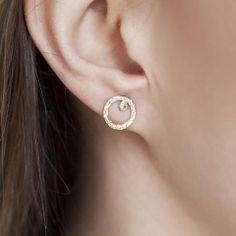 Circle Bezel Diamond Earrings
