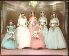 A hand tinted wedding photo Gorgeous. jasmine bridal couture wedding dresses 2012 Take the first bites of your wedding cake using thes. Vintage Wedding Photos, Vintage Bridal, Wedding Pics, Wedding Bride, Wedding Styles, Vintage Weddings, Blue Wedding, Wedding Ideas, Rainbow Wedding