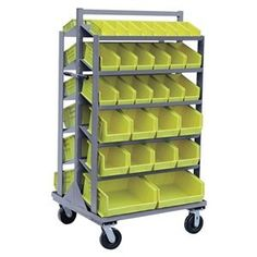 Bin Cart, 37x31x66 In., 2000 lb. Cap. by Jamco. $851.35. Mobile Bin CartBin Color Yellow, Overall Height 66 In., Overall Length 37 In., Overall Width 31 In., Cart Color Gray, Caster Type (2) Rigid, (2) Swivel, Caster Material Urethane, Caster Dia. 6 In., Cart Material Steel, Gauge Thickness 12, Powder Coat FinishLoad Capacity 2000 lb., Number of Shelves 12, Capacity per Shelf 150 lb.Includes 60 Assorted Bins