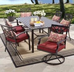 6 Seats Patio Dining Set Outdoor Furniture Metal Table 7-Pcs With Cushions NEW #6SeatsPatio