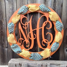 Wooden Monogram with Ribbon Holes Wreath