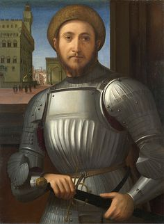 attributed to Francesco Granacci (1469 – 30 November 1543) - Portrait of a man in armour (1510) in front of Palazzo Vecchio - Florence, Italy