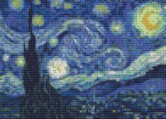 Mini Cross Stitch KIT - The Starry Night by Vincent Van Gogh. $18.00, via Etsy.