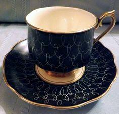 "Un-Named ""Black Swirl"" Royal Albert tea cup"