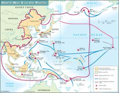 map for pacific battles of ww2   World War II in the Pacific This map shows the Pacific Theatre of ...