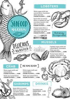 """Laden Sie den lizenzfreien Vektor """"Restaurant brochure vector, menu design. Vector cafe template with hand-drawn graphic. Food flyer."""" von marchiez zum günstigen Preis auf Fotolia.com herunter. Stöbern Sie in unserer Bilddatenbank und finden Sie schnell das perfekte Stockbild für Ihr Marketing-Projekt!"""