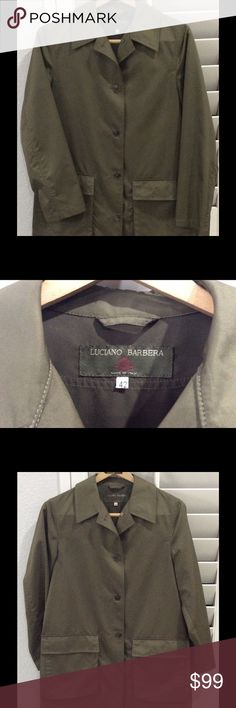 """Luciano Barbera women's 2-Pocket Green Jacket Great pre-owned condition.  Made in Italy.  Label indicates size 42.  Underarm to underarm = 19.5"""". Sleeve (bottom of collar to end of sleeve) = 30"""". Shoulder seam to shoulder seam = 16"""". Length (bottom of collar to bottom of jacket) = 31.5"""". 93% Polyester and 7% Spandex Luciano Barbera Jackets & Coats Utility Jackets"""